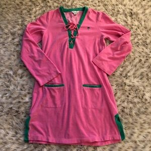 Lilly Pulitzer beach lace up cover up French terry